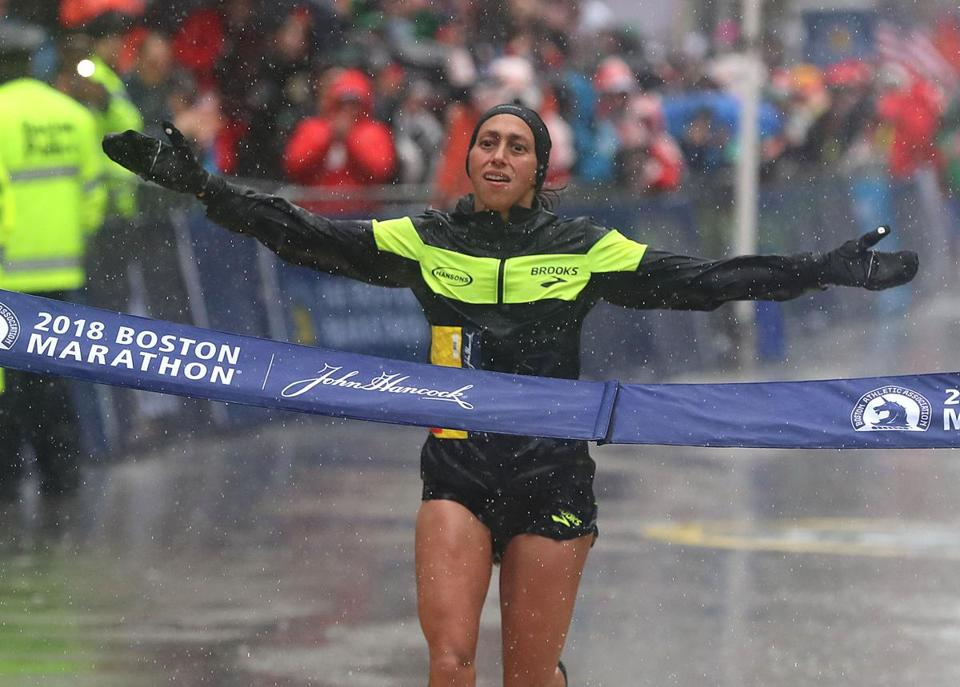 "Desiree Linden completed a ""storybook"" win by breaking the tape."